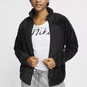 Women's Nike Full-Zip Black Sherpa Training Top